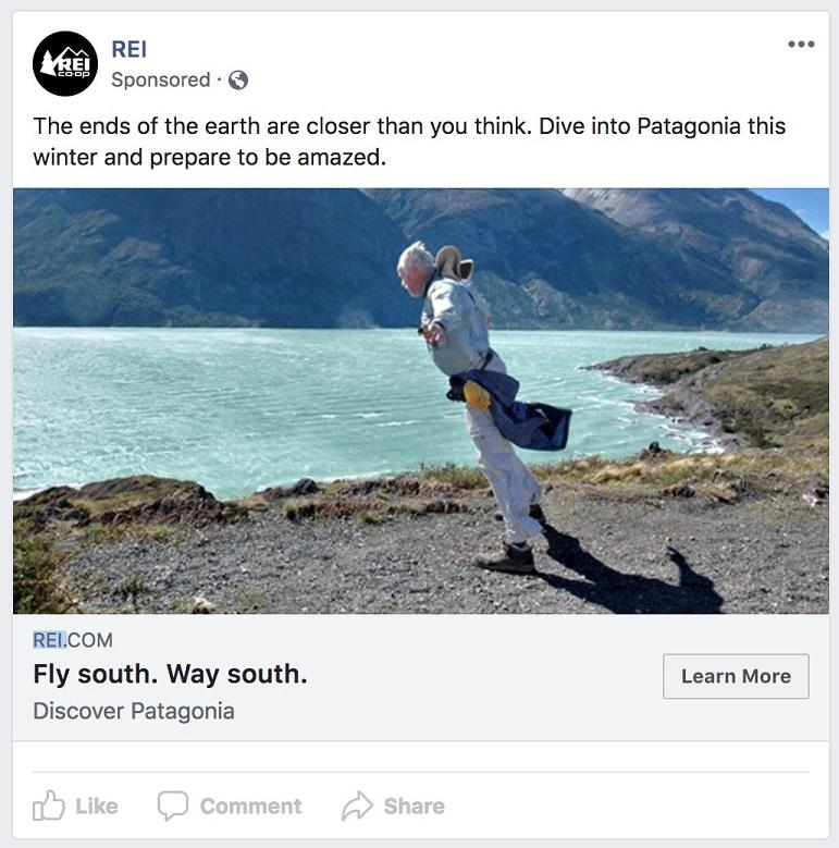 exemplo de anúncio do Facebook baseado no clima para o inverno