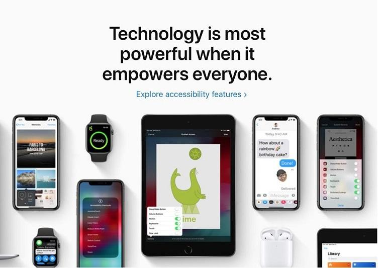 "Apple's accessibility options with message: ""Technology is most powerful when it empowers everyone."""
