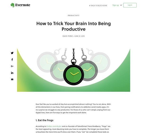 website color scheme blog from Evernote