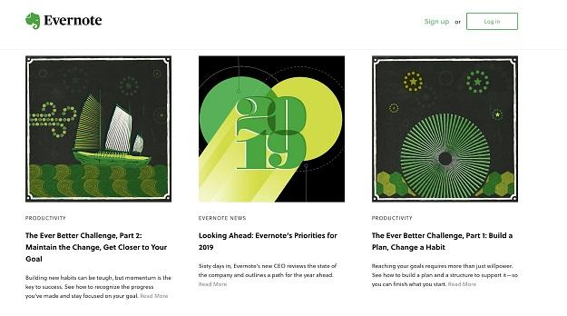 website color scheme blog example from Evernote