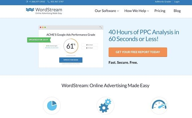 WordStream's website color scheme