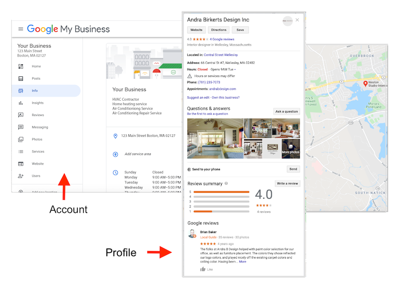 what is google my business account vs profile