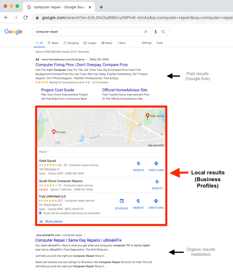 what is google my business business profiles in search results web