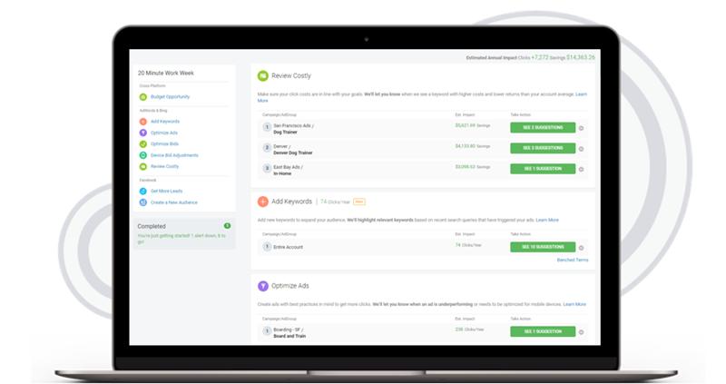 wordstream advisor 20 minute workweek review costly alert