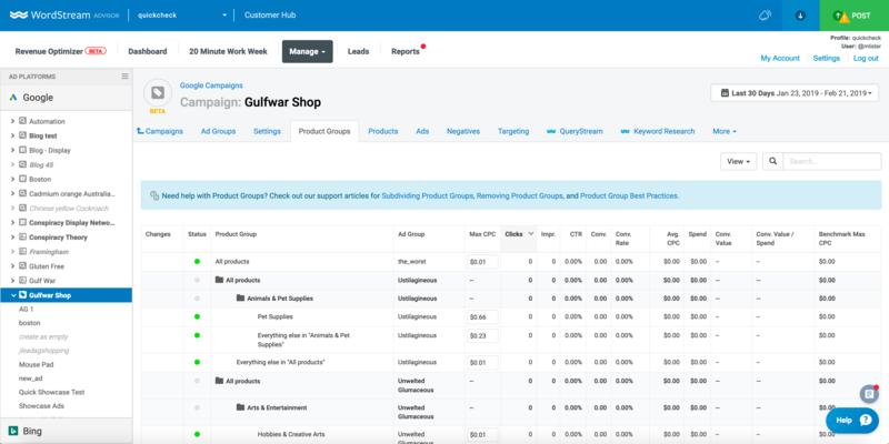wordstream-advisor-for-ecommerce-shopping-campaign