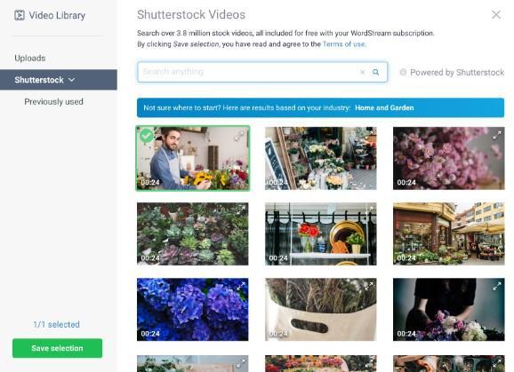 New Shutterstock video library in WordStream Advisor