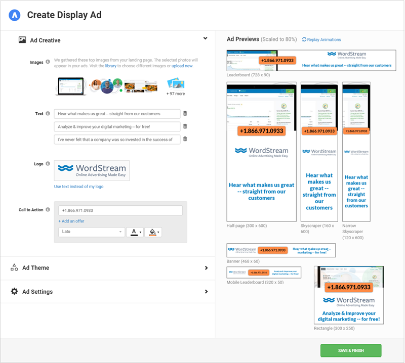 wordstream smart ads for display ad creation interface