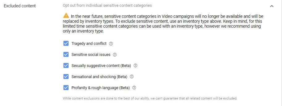 excluded content for YouTube placements