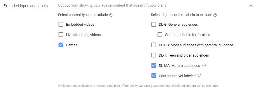 placement types and labels placements for YouTube ad