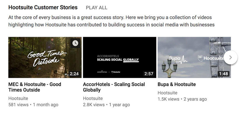 YouTube marketing Hootsuite customer stories