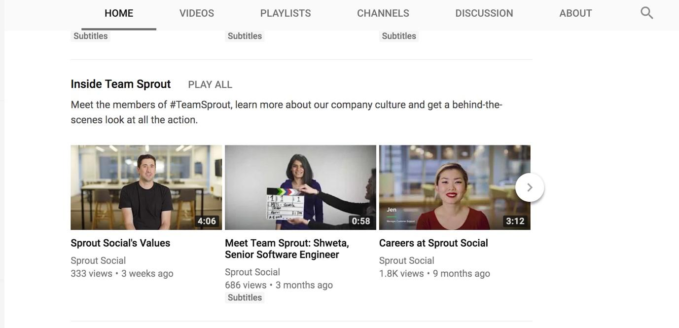 YouTube marketing team sprout