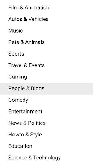 dicas de SEO do YouTube - lista de categorias de vídeo