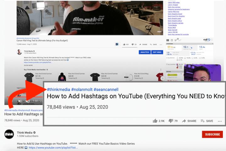 dicas de SEO do YouTube - hashtag aparecendo acima do título do vídeo
