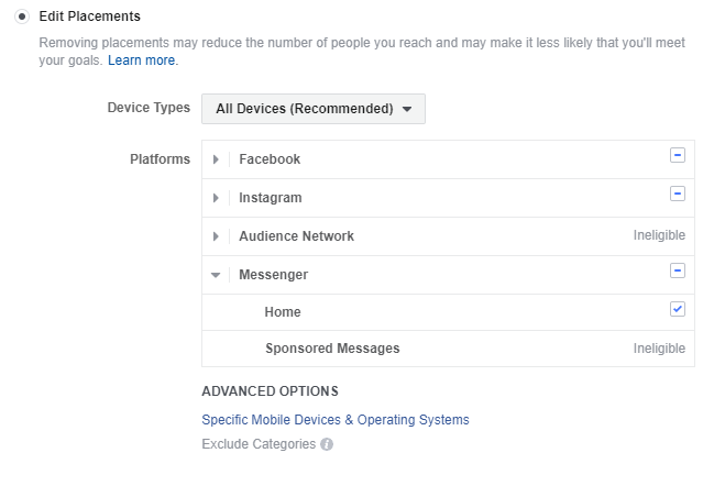 facebook messenger ads placements