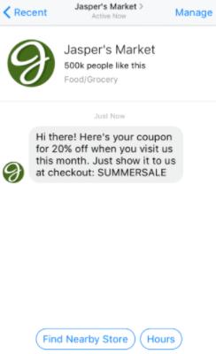 facebook messenger ads offer example
