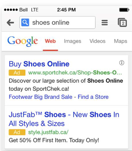 mobile ad copy keywords