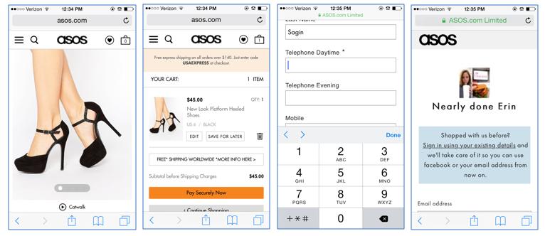 e-commerce mobile landing pages