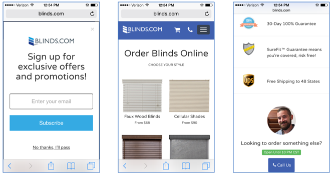 e-commerce mobile landing pages - long sales cycle