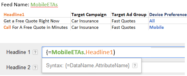 creating mobile expanded text ads with a feed