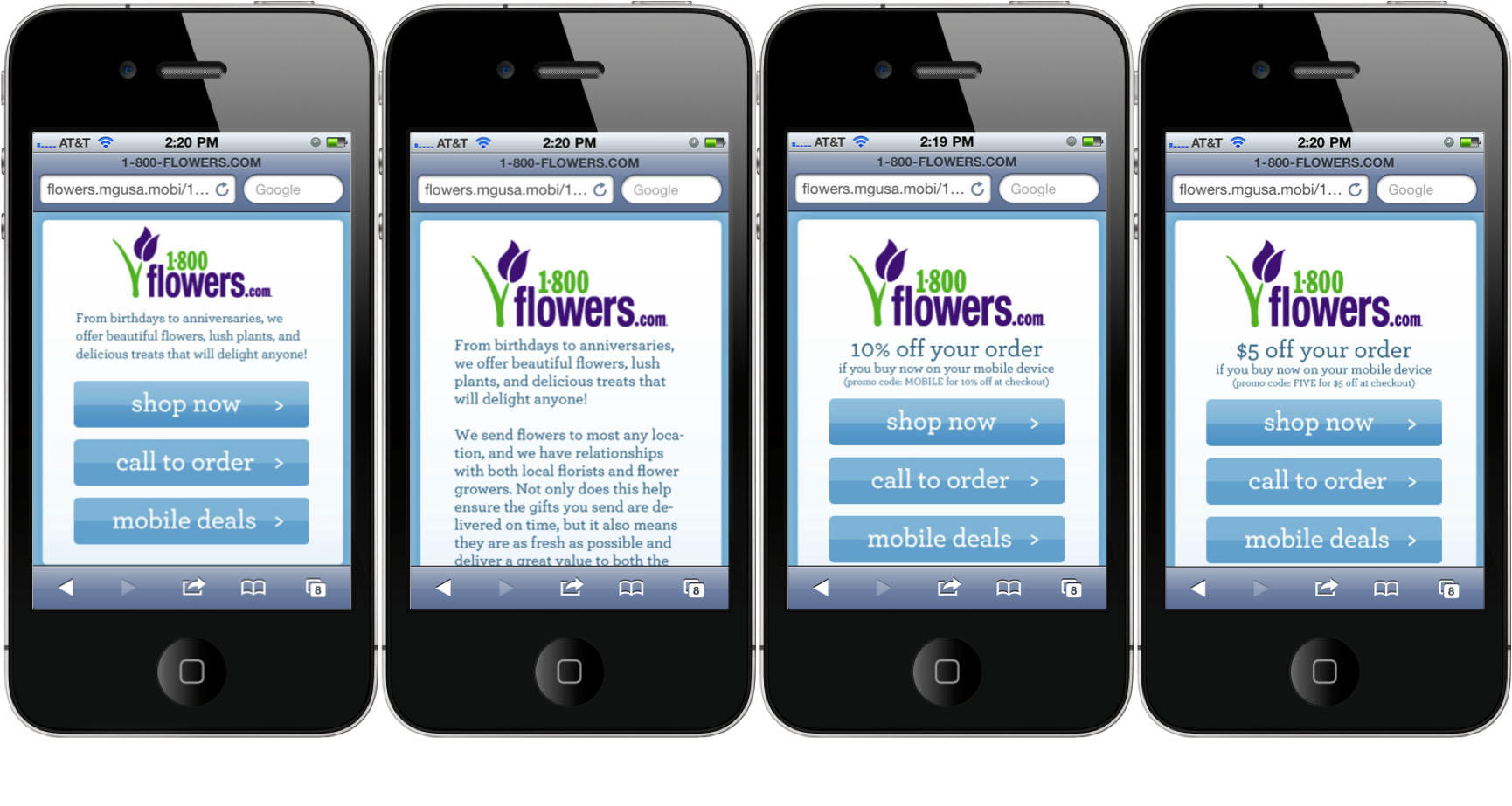 Mobile landing page multivariate tests