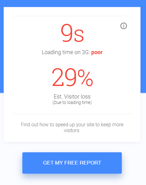 mobile landing page speed checker results bad