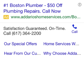 mobile ppc ad plumber
