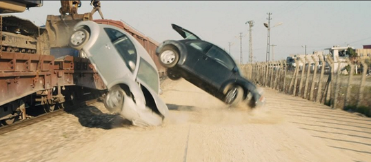 Moztalk image of VW cars falling off the train in Skyfall