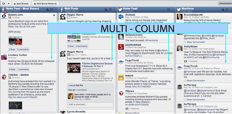 HootSuite multi-columned design