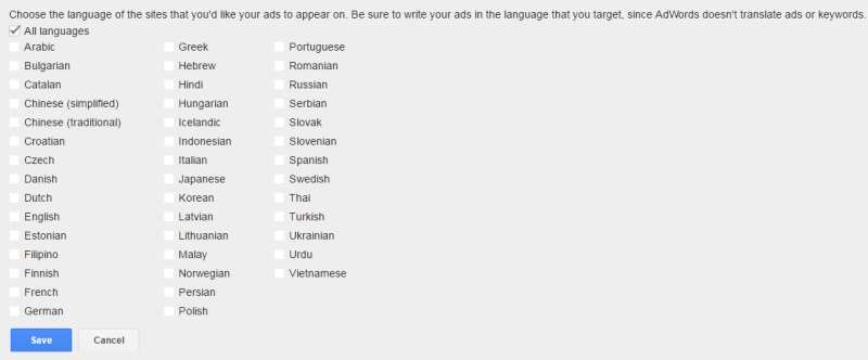 adwords languages