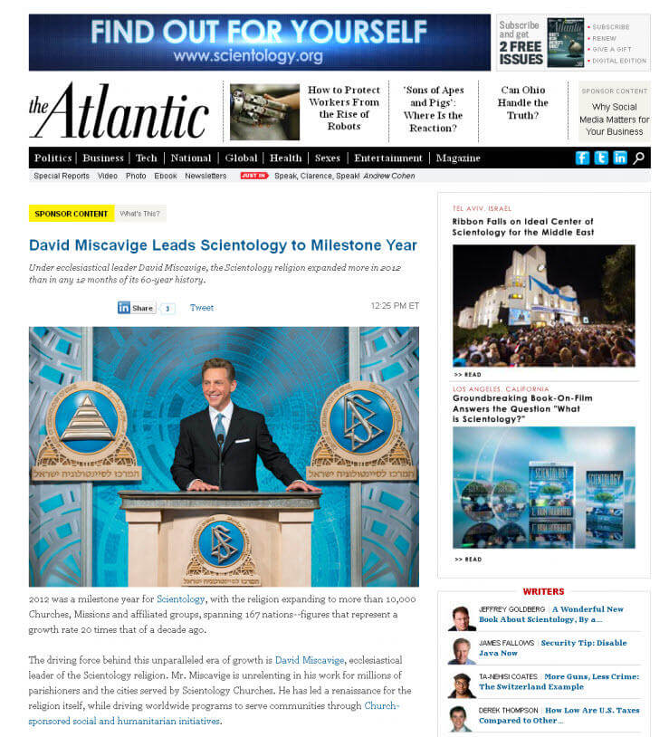 Native advertising examples Atlantic Scientology post