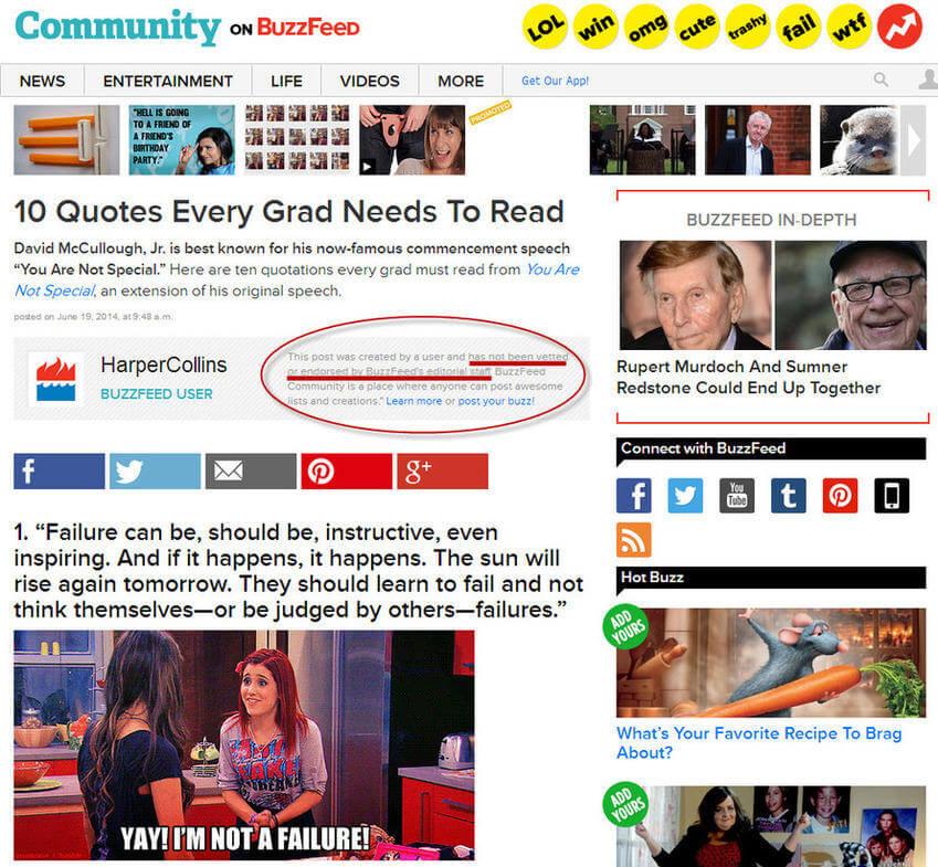 Native advertising examples HarperCollins BuzzFeed sponsored content
