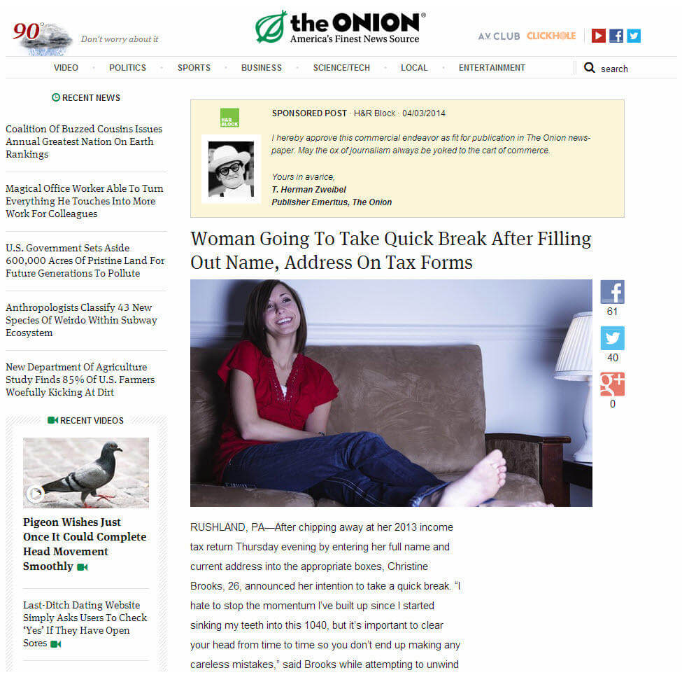 Native advertising examples The Onion sponsored post