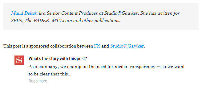Native advertising examples new Gawker ad strapline