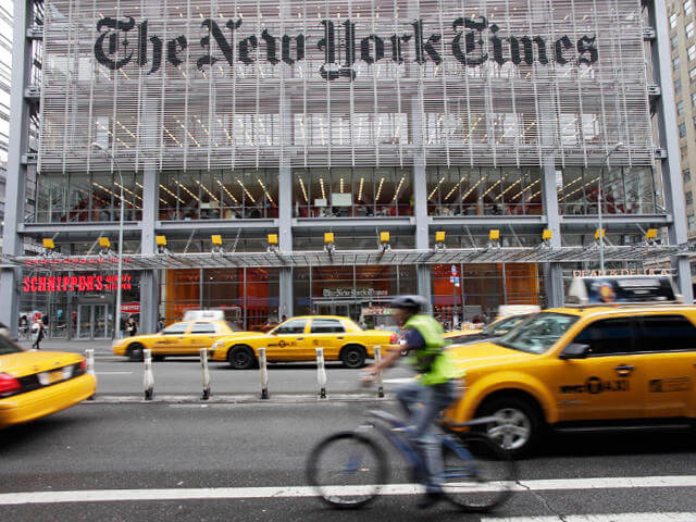 Native advertising examples New York Times building exterior