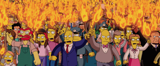 Native advertising examples angry mob from The Simpsons