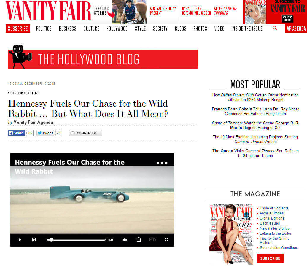 Native advertising examples Vanity Fair Hennessy cognac ad