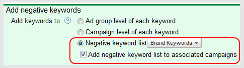 Add Negative Keywords