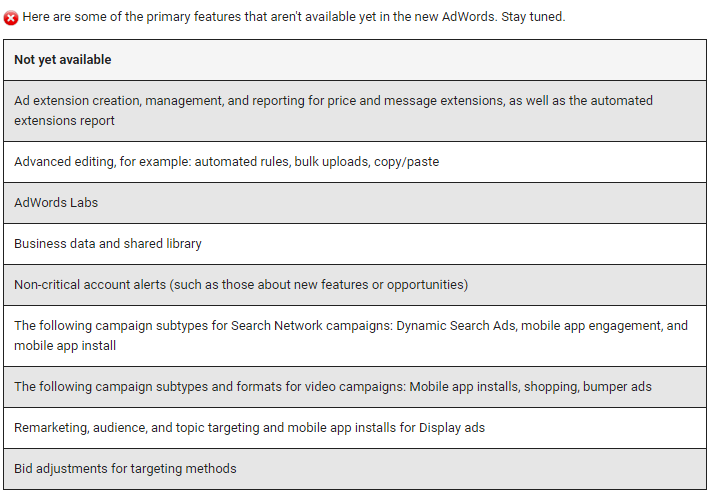 features missing from the new adwords ui