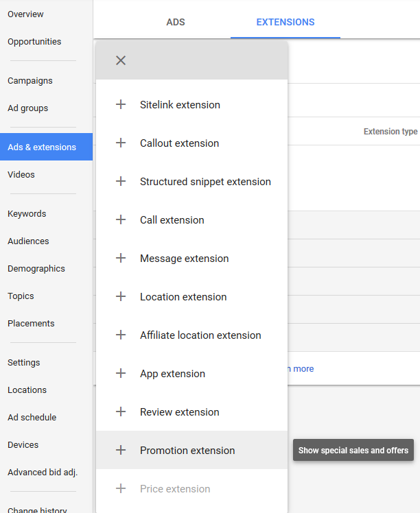 new adwords experience promotion extensions