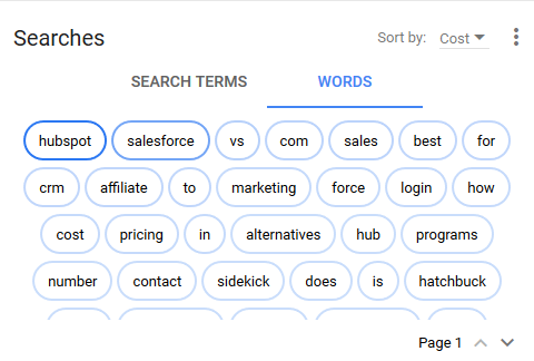 new adwords experience word cloud reporting