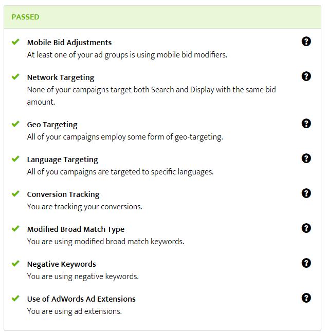 adwords best practices check