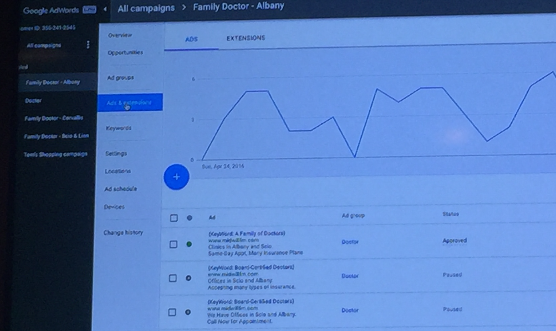 New AdWords interface campaign creation wizard