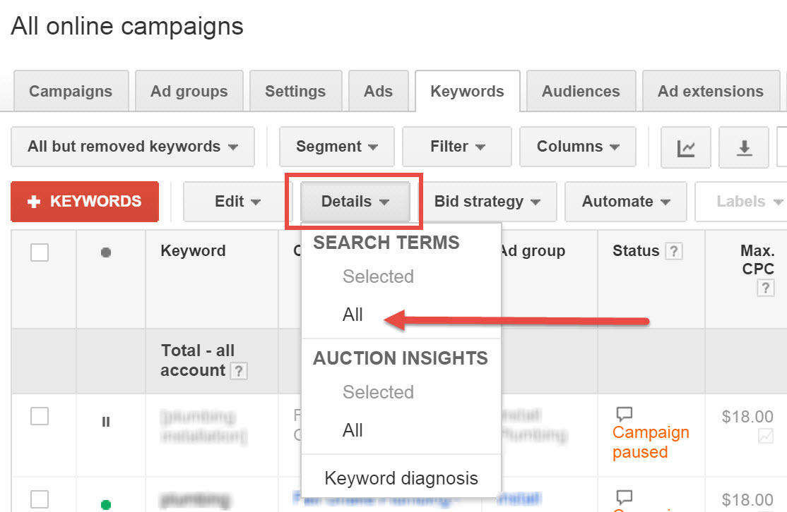 New AdWords Search Query report layout old version