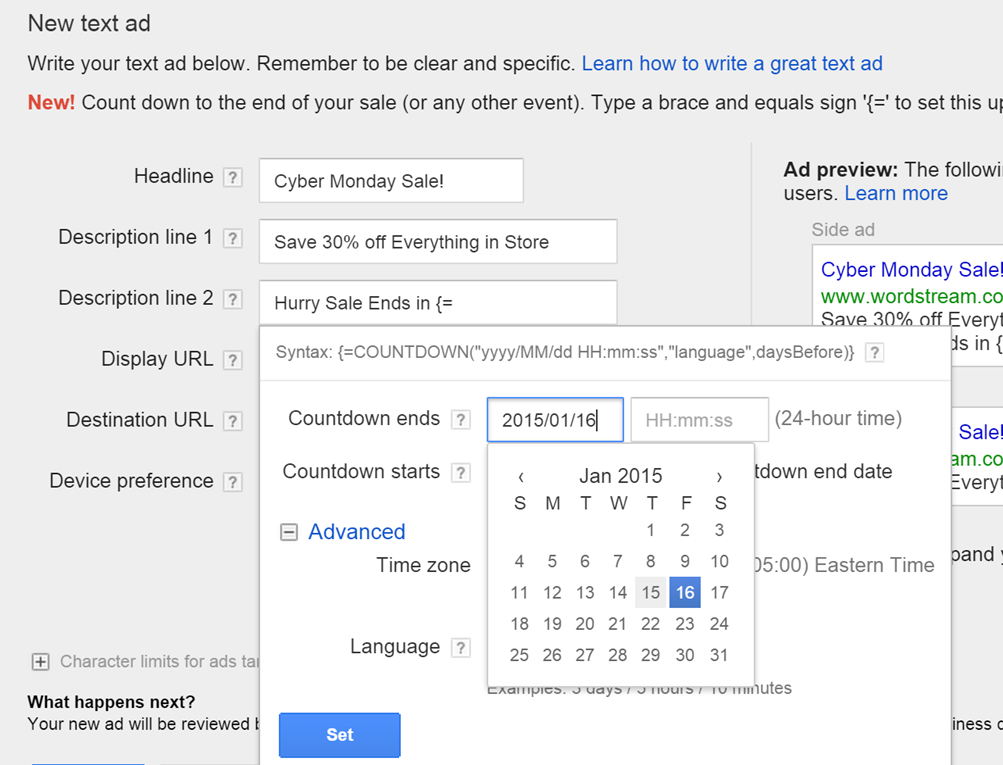 New AdWords tools ad customizers countdown