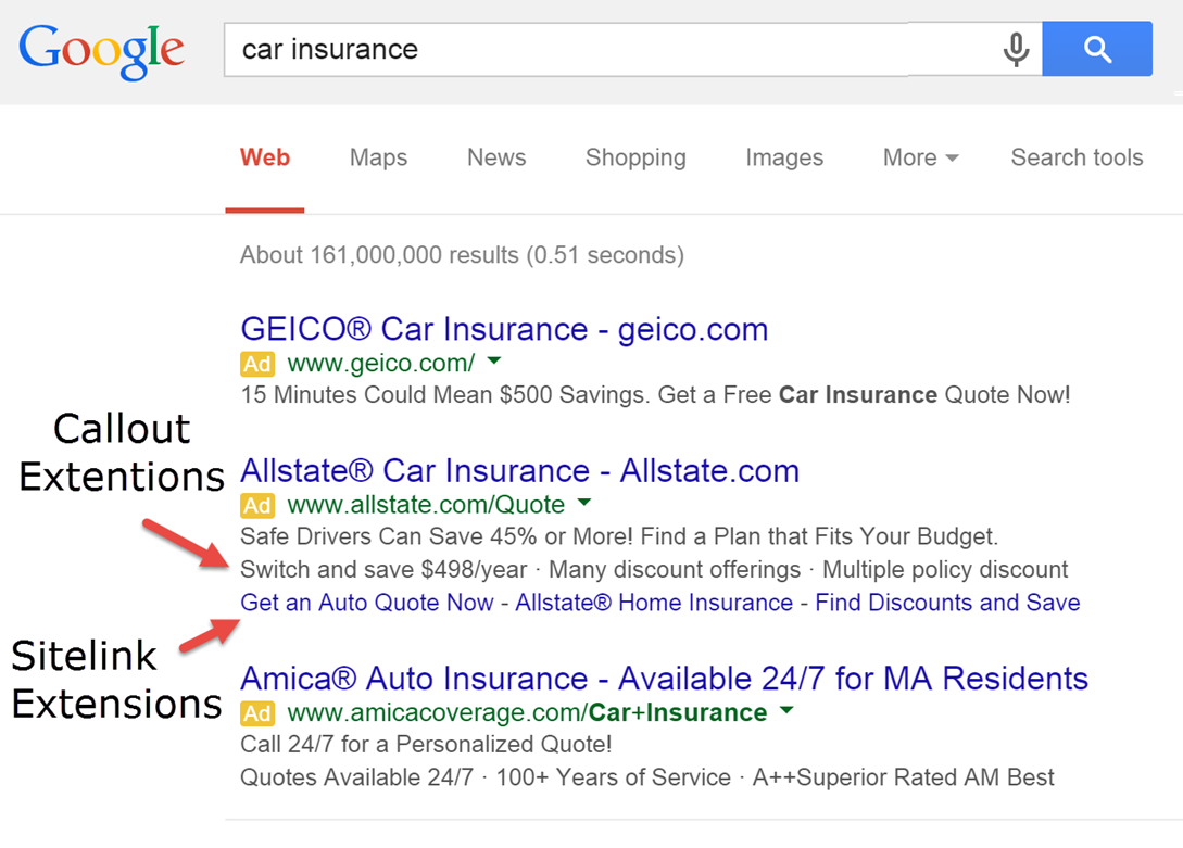 New AdWords tools example callout extensions