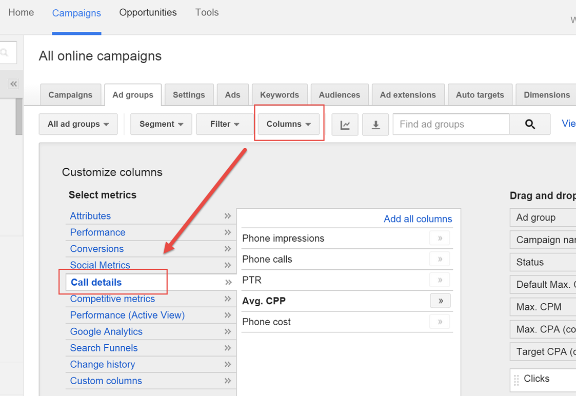 viewing adwords call conversions