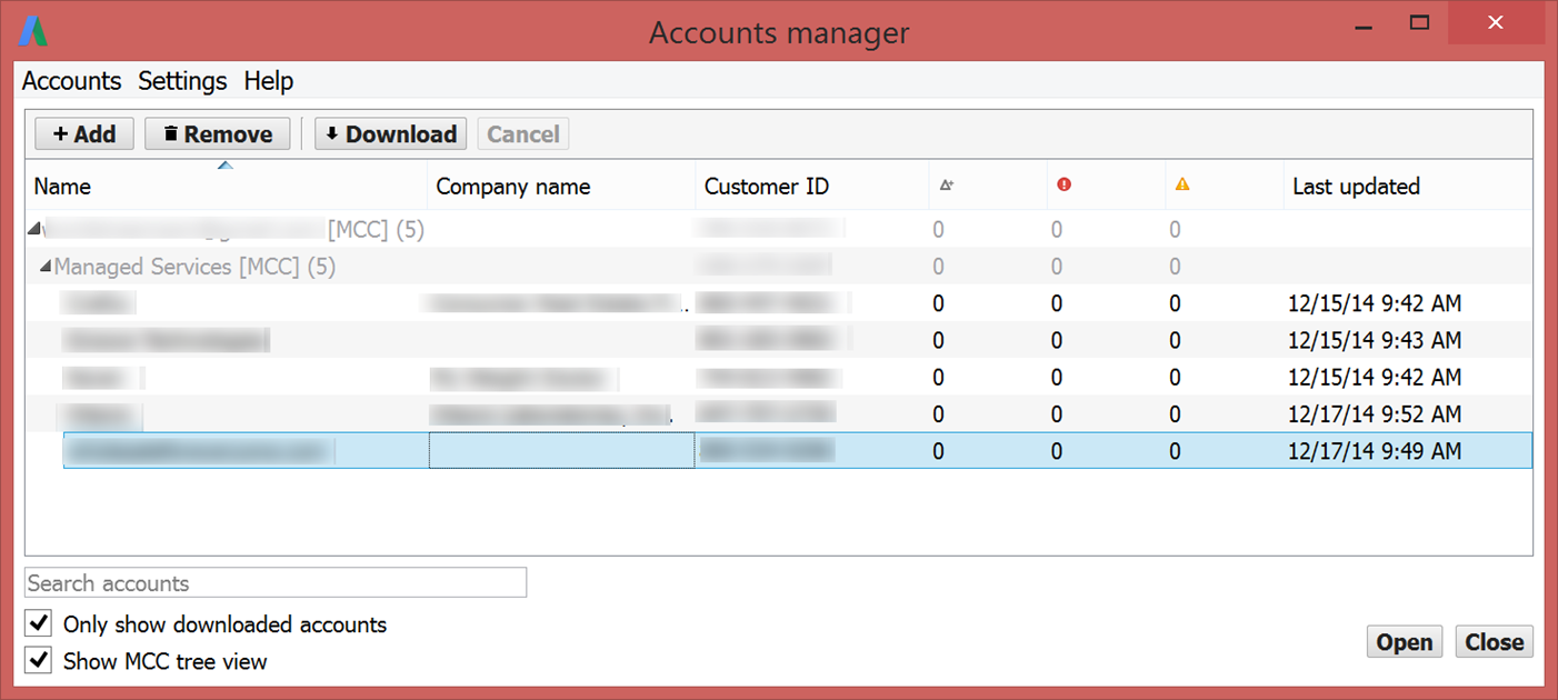 New AdWords tools multiple accounts in AdWords Editor