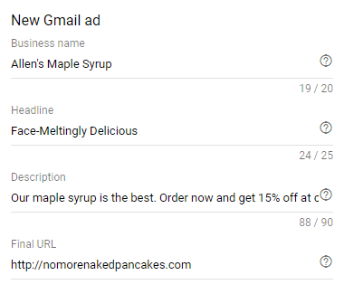 new gmail ad business information