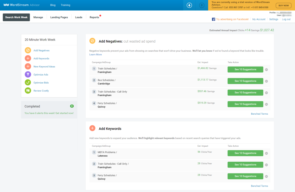 WordStream Advisor new and improved 20-Minute PPC Work Week negative keyword functionality