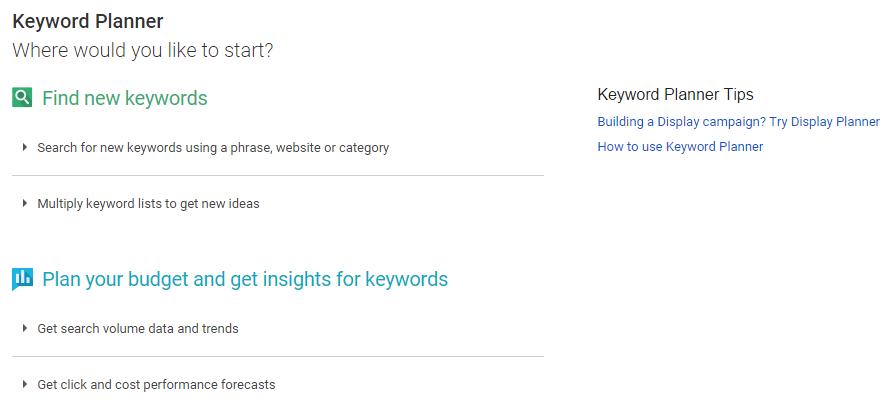 New Keyword Planner Interface